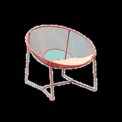 Silla lounge Cali Wire con asiento de piel