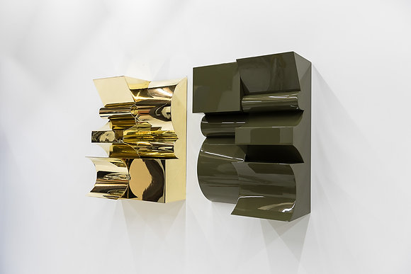 Escultura Untitled 2 Module Brass and Wood