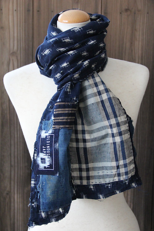 Vintage Japanese sashiko stitched plaid indigo boro scarf