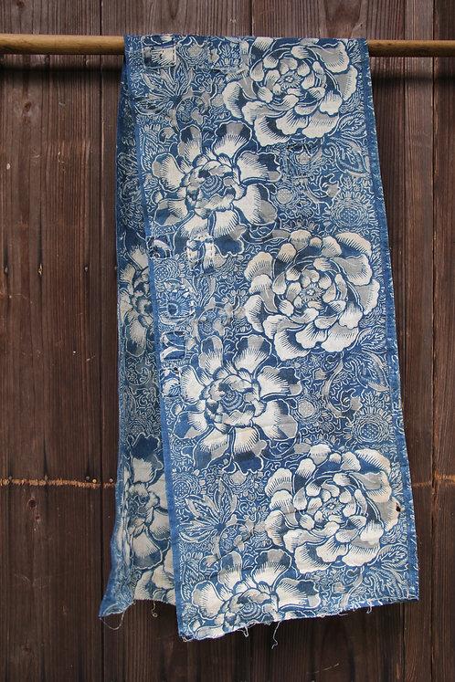 Japanese sashiko stitched indigo katazome fragment