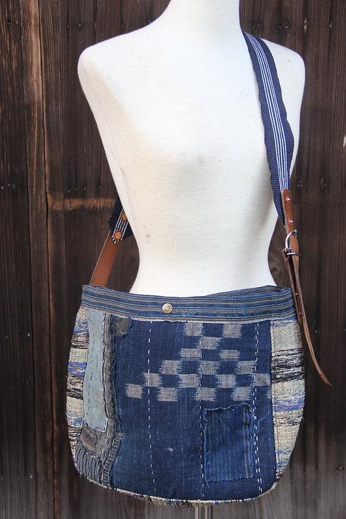 Japanese sashiko stitched sakiori boro shoulder bag