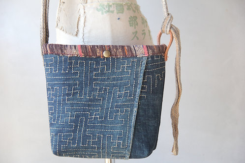 Vintage Japanese sashiko stitched furoshiki mini shoulder bag