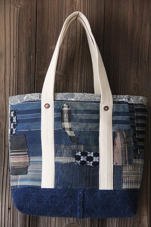 Japanese sashiko stitched indigo kendo boro tote bag