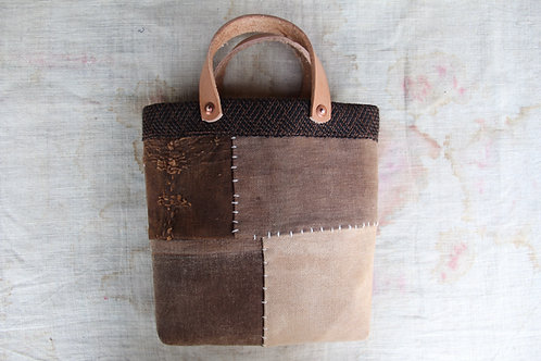 Vintage Japanese persimmon dyed sakabukuro mini tote bag