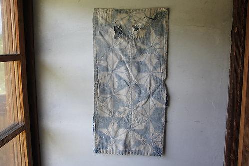 Vintage Japanese indigo dyed boro fragment rug