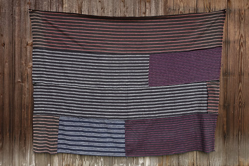 Vintage Japanese patched hand woven ikat rug