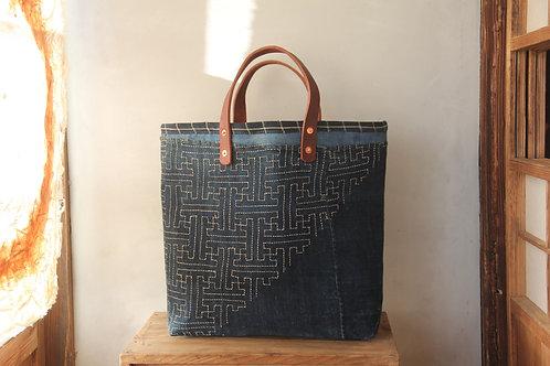 Vintage Japanese sashiko stitched indigo furoshiki tote bag