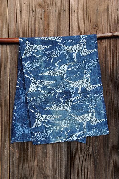 Vintage Japanese indigo dyed crane katazome fragment