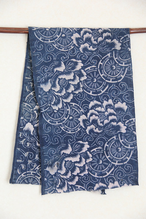 Japanese vintage indigo katazome fragment