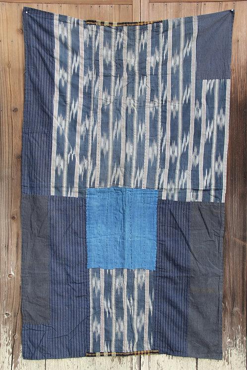 Vintage Japanese sashiko stitched indigo boro rug