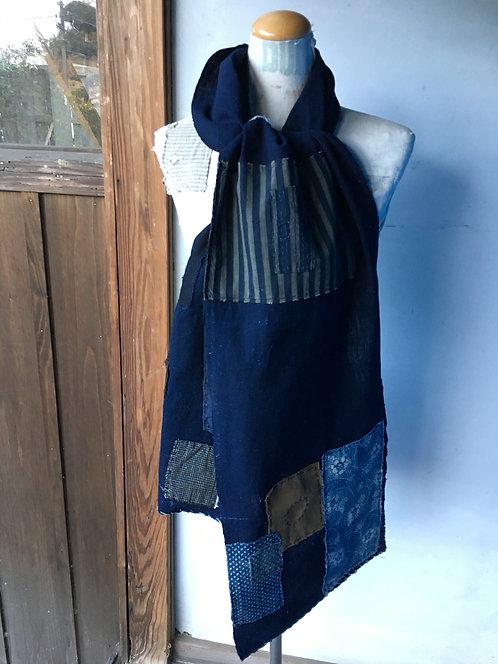 Japanese sashiko stitched indigo boro scarf
