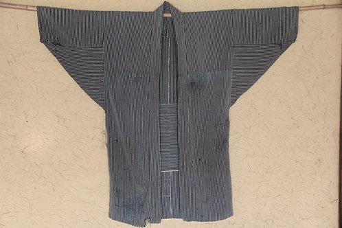 Vintage Japanese reversible indigo stripe noragi boro jacket