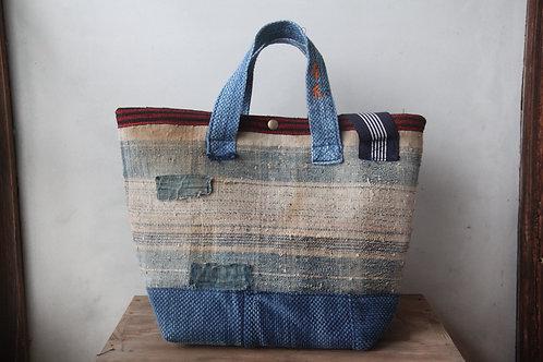 Vintage Japanese sashiko stitched boro 2way bag