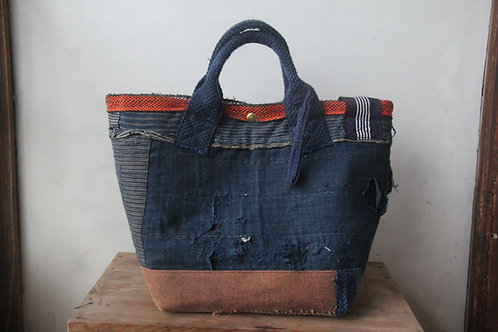 Vintage Japanese sashiko stitched boro 2way bag