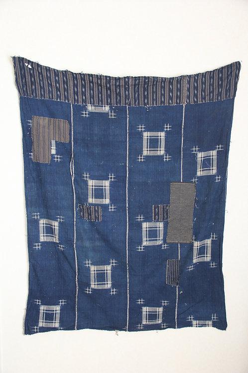 Japanese vintage sashiko stitched indigo furoshiki