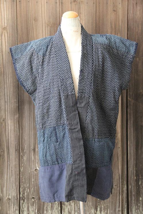 Reversible vintage Japanese sashiko stitched kasuri boro Vest