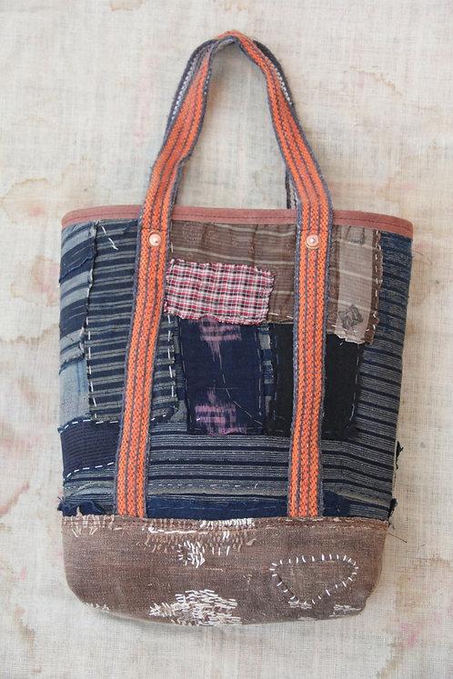 Japanese sashiko stitched boro tote bag