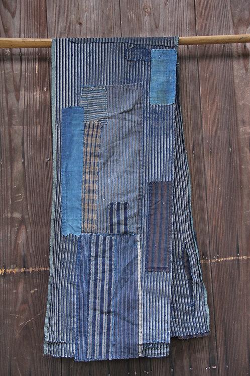 Vintage Japanese sashiko stitched stripe indigo boro scarf