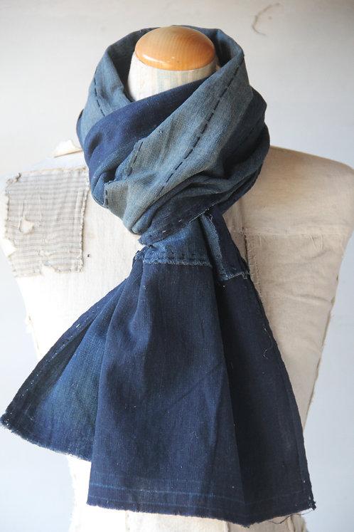 Vintage Japanese sashiko stitched BORO scarf
