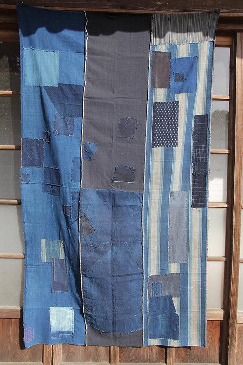 Vintage Japanese sashiko stitched indigo dyed rug