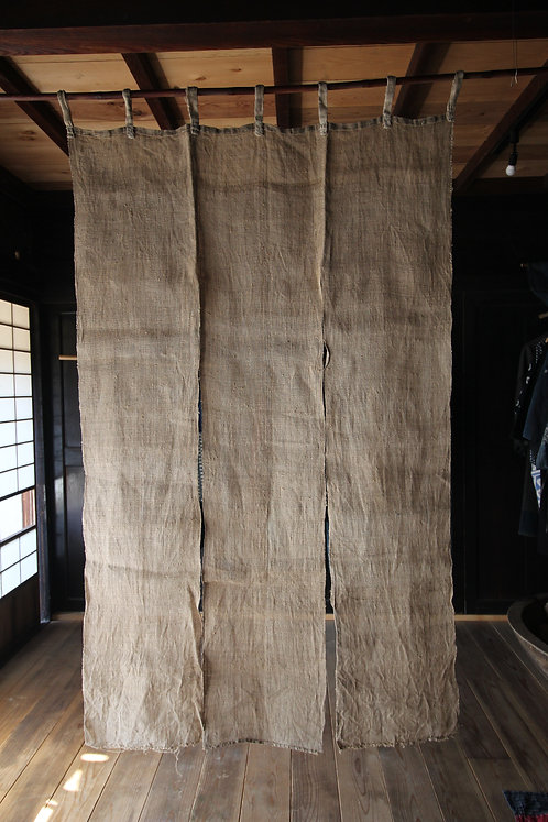 Vintage Japanese handwoven hemp Noren shop curtains