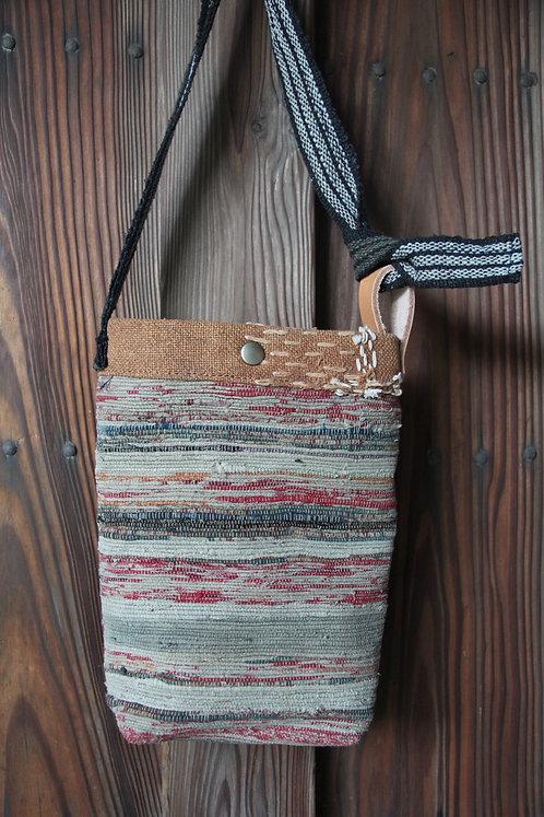 Japanese sakiori indigo boro mini shoulder bag