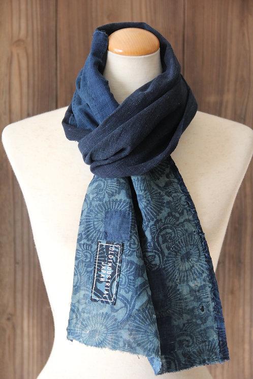 Vintage Japanese sashiko stitched katazome indigo boro scarf