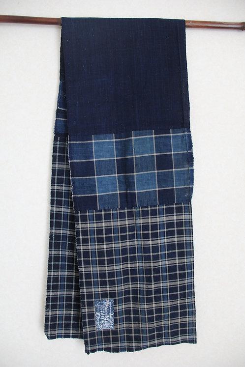 Japanese sashiko stitched plaid indigo boro scarf