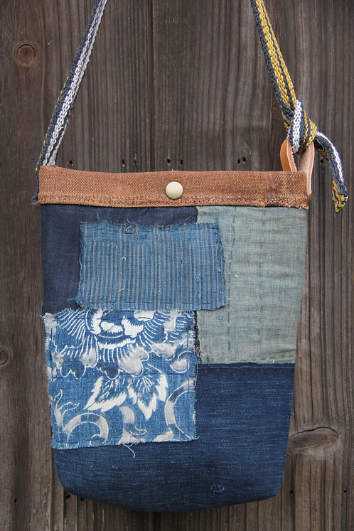 Japanese sashiko stitched boro mini shoulder bag