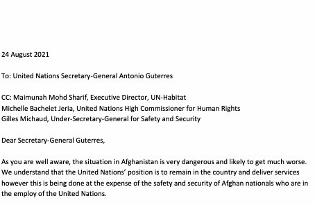 Terrified local UN staff in Kabul left to the Taliban's mercy