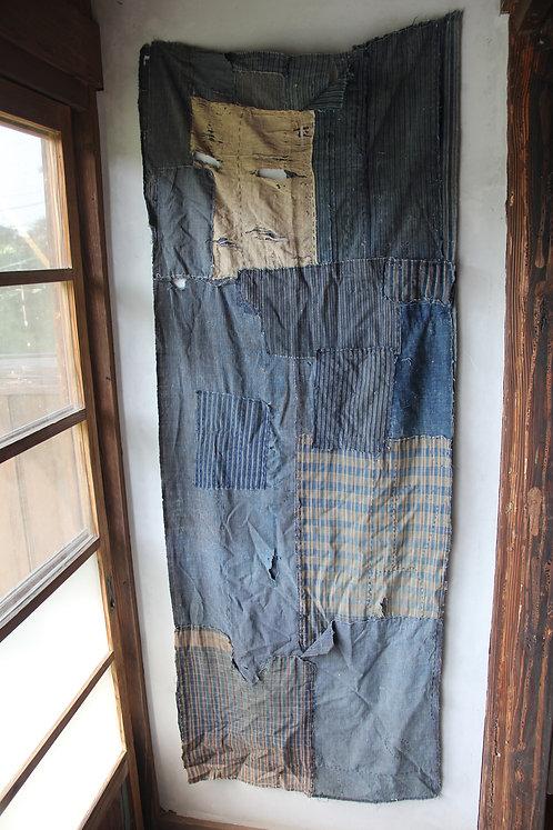 Vintage Japanese sashiko stitched stripe indigo fragment