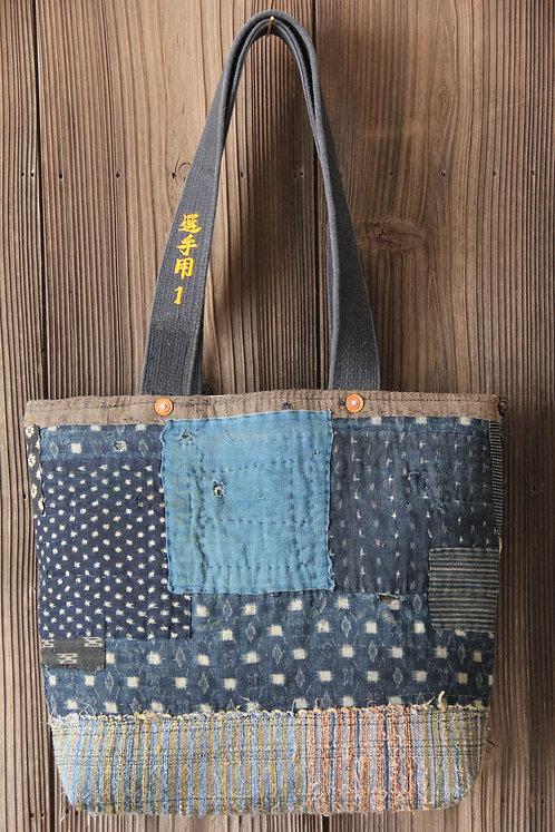 Vintage Japanese sashiko stitched snow flake indigo boro tote bag