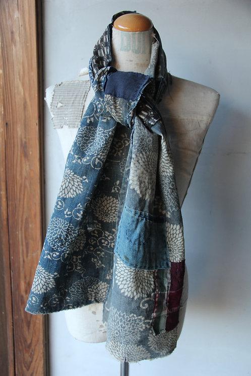 Vintage Japanese sashiko stitched indigo stripe boro scarf