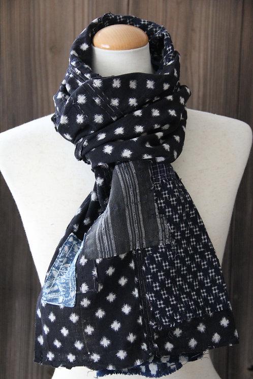 Vintage Japanese sashiko stitched snowflake black indigo boro scarf