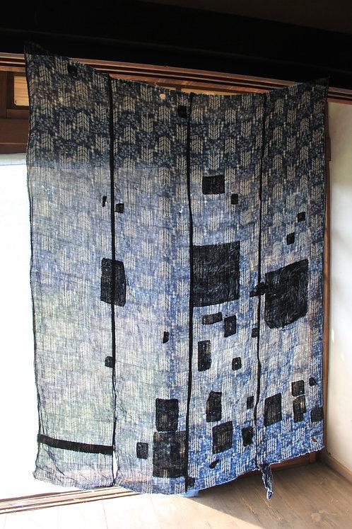Vintage Japanese sashiko stitched indigo hemp rug