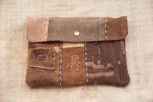 Japanese sashiko stitched sakabukuro purse