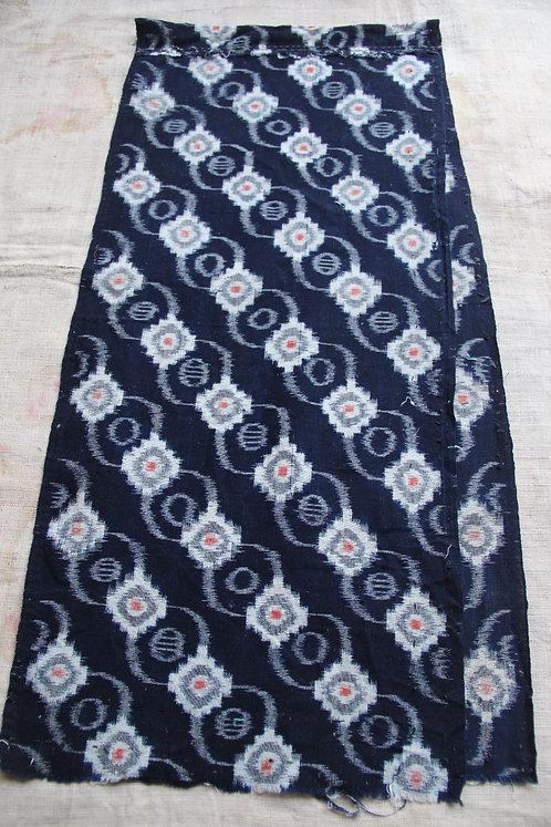 Vintage Japanese indigo dyed kasuri fragment