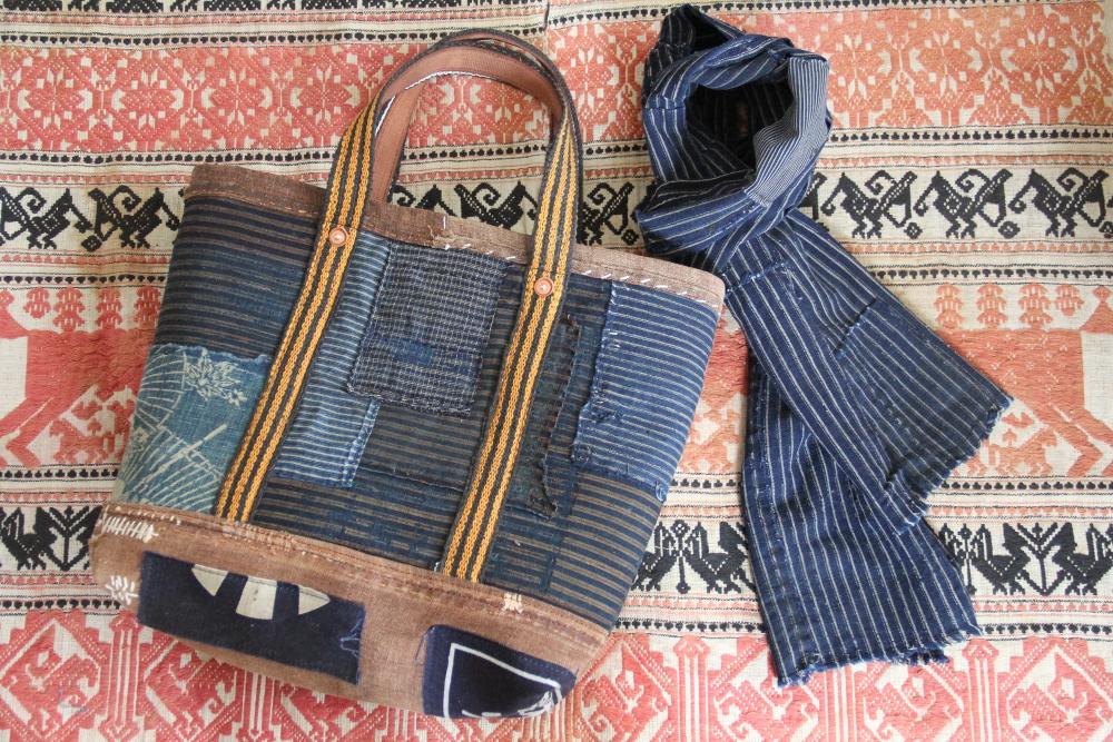 Japanese stripe boro bag