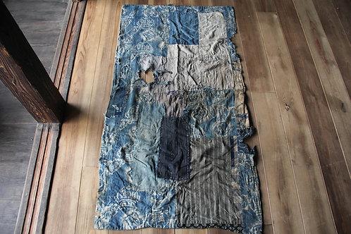 Vintage Japanese sashiko stitched katazome indigo BORO textile