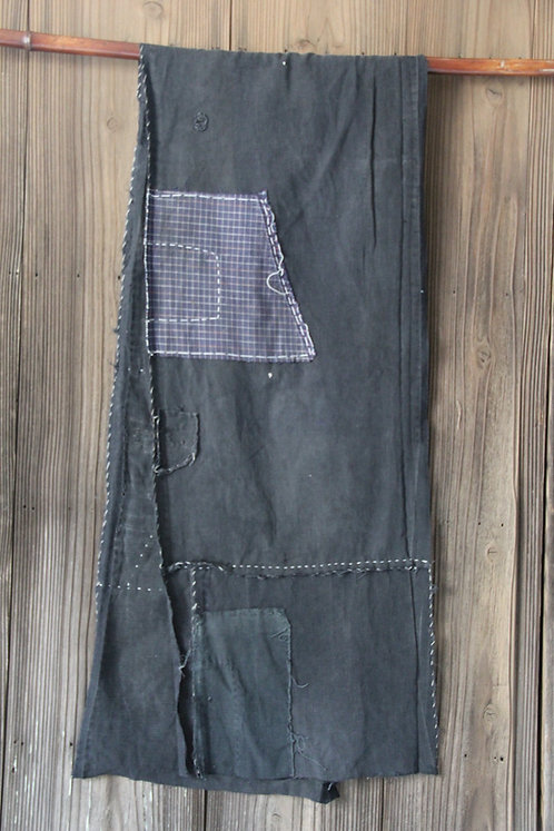 Japanese sashiko stitched black boro scarf