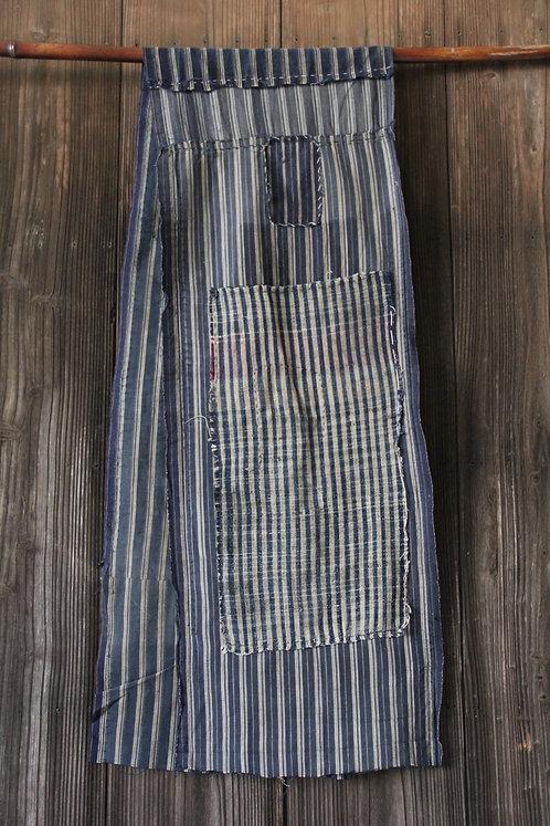 Japanese sashiko stitched stripe indigo boro scarf