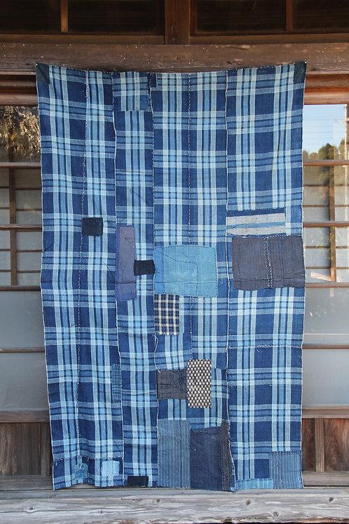 Vintage Japanese sashiko stitched plaid indigo bed cover futonji rug