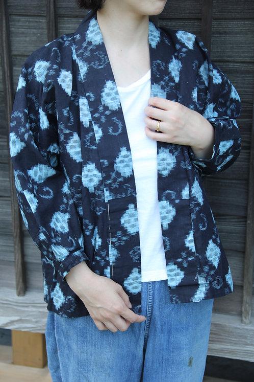 Vintage Japanese long indigo kasuri noragi jacket