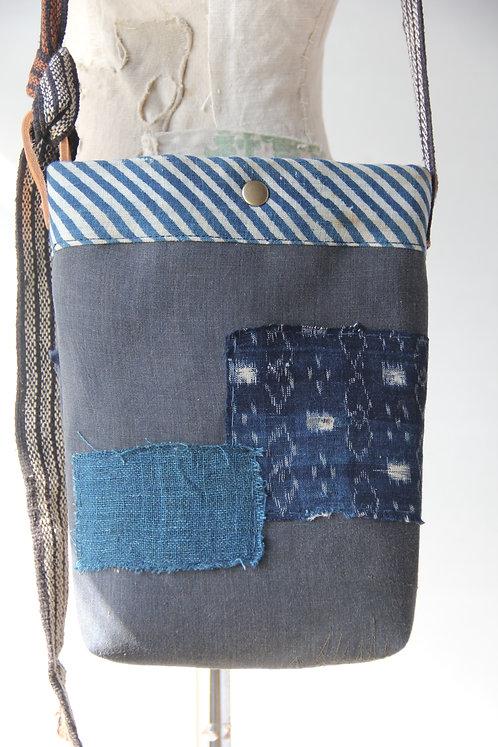 Vintage Japanese sashiko stitched boro mini shoulder bag