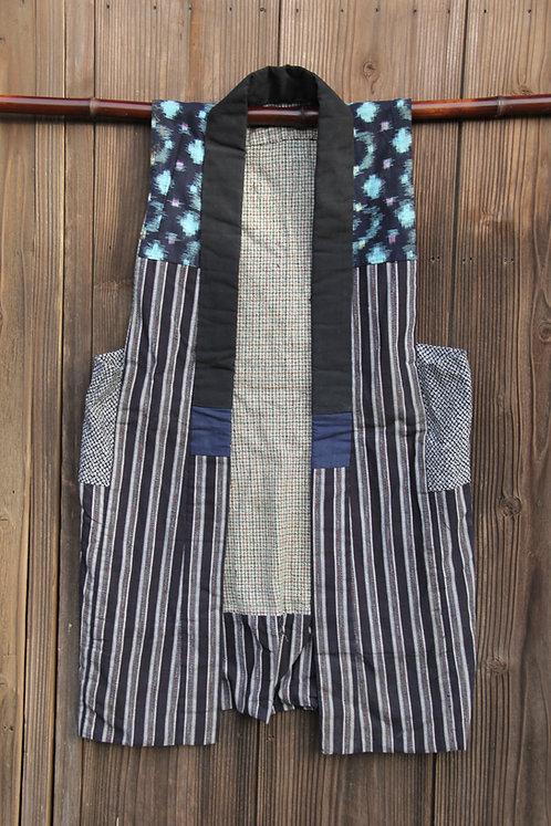 Vintage Japanese reversible indigo sodenashi vest