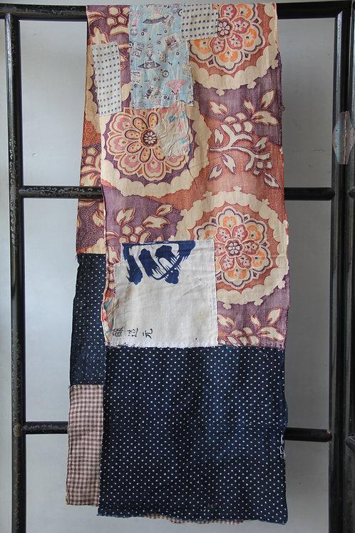 Vintage Japanese sashiko stitched indigo sarasa fragment
