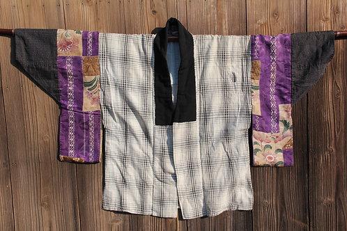 Vintage indigo dyed silk and cotton patchwork juban kimono jacket