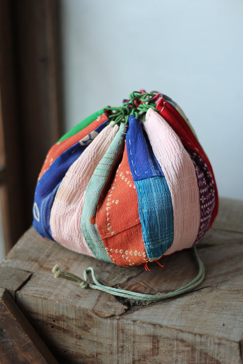 Vintage Japanese patched chirimen silk rice bag