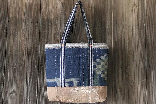 Japanese sashiko stitched indigo & sakabukuro boro tote bag