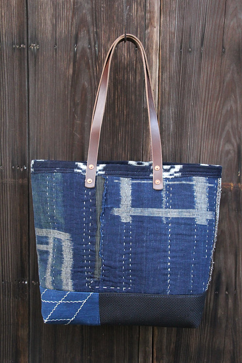 Japanese sashiko stitched indigo boro tote bag